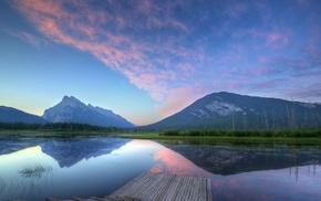 reflection, landscape, sky, lake, evening, nature