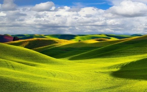hill, field, landscape, nature, photography, clouds