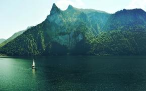 nature, lake, trees, summer, boat, sky