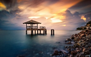 calm, dock, sunrise, colorful, ruin, rock