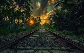 tropical, landscape, clouds, railway, palm trees, sunset