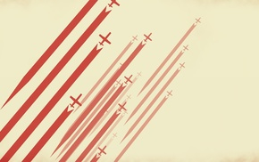 airplane, aircraft, simple background, digital art, stripes, red