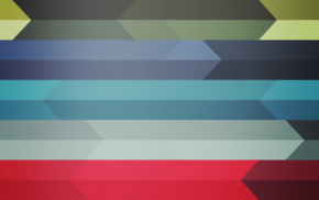 arrows, colorful, blue, red, digital art, minimalism