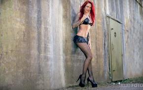 bra, girl, model, black heels, high heels, redhead