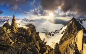nature, clouds, Austria, summit, sun rays, mountain