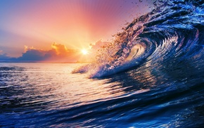 sunset, water, sea, waves, nature, clouds