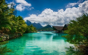 Vacations, island, resort, sea, water, Bora Bora