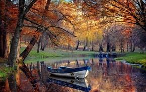 boat, nature, landscape, fall, trees, park