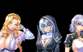 armor, cleavage, horns, nuns, fantasy armor, elves
