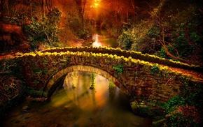 bricks, nature, forest, sunset, hill, river