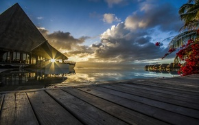 sunset, French Polynesia, tropical, resort, sun rays, palm trees