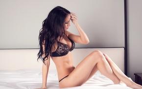 black lingerie, bed, girl, model