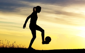 sports, silhouette, girl, girl outdoors, soccer