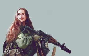 soldier, artwork, girl, weapon