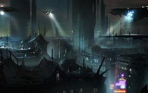 futuristic, artwork, night, noir, cyberpunk