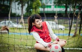 Goal, sitting, model, smiling, girl outdoors, long hair