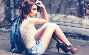 jean shorts, girl, girl outdoors, depth of field, redhead, long hair