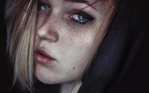 portrait, blonde, girl, freckles, face, model