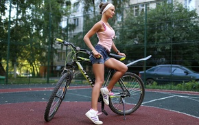 bicycle, girl, jean shorts, looking away, shoes