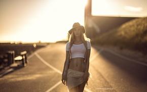 model, road, flat belly, blonde, short skirt, sunset