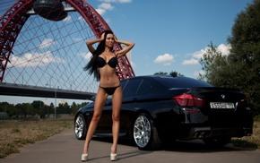 high heels, skinny, black lingerie, car, girl outdoors, black hair
