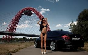 skinny, car, Marina Morozkina, black hair, black lingerie, girl