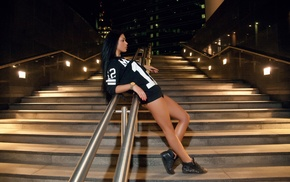 stairs, model, girl, shoes, sitting, sports jerseys