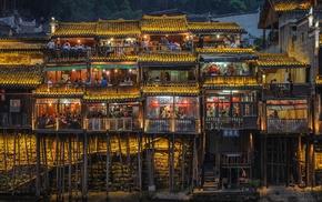 gold, lights, landscape, people, restaurant, urban