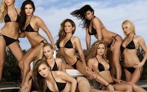 long hair, model, black bikinis, sitting, blonde, groups of girls