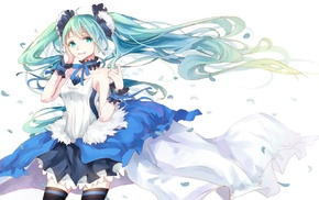 Zettai Ryouiki, ribbon, headband, petals, Vocaloid, simple background