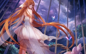 long hair, Yuuki Asuna, anime girls, white dress, fairies, butterfly