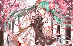 cherry trees, Hatsune Miku, long hair, Vocaloid, flower in hair, anime