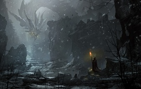 dark, dragon, fantasy art, snow, artwork, digital art