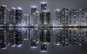 urban, modern, night, South Korea, lights, skyscraper