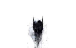 digital art, DC Comics, minimalism, black, mask, simple