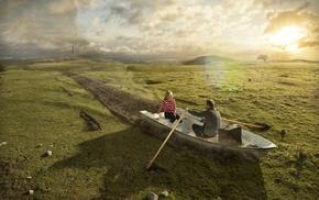 romantic, ground, men, hill, boat, nature