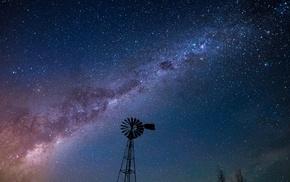 silhouette, stars, wheels, landscape, long exposure, night