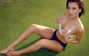 girl, Gina Carla, grass, sitting