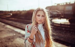 blonde, portrait, girl, face