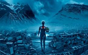 Vitaly S Alexius, hearts, fantasy art, mountain, apocalyptic, gas masks