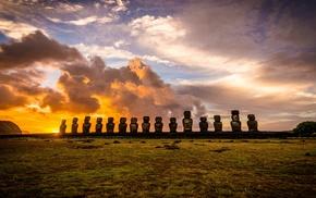 sunrise, Chile, nature, landscape, statue, clouds