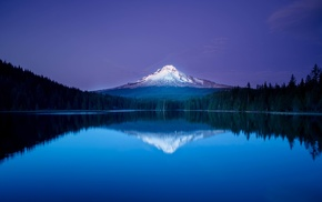 blue, forest, lake, Oregon, reflection, mountain