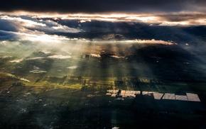 sunrise, field, sun rays, Ecuador, landscape, morning
