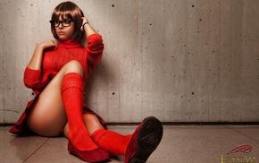girl with glasses, nerds, skirt, cosplay, girl, Velma Dinkley