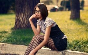 stockings, girl, sitting, girl with glasses, nerds