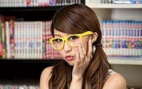 long hair, girl, girl with glasses, Asian, nerds