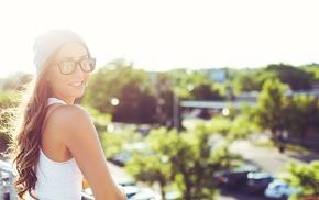 girl with glasses, long hair, girl, nerds, sunlight