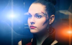 cyberpunk, face, futuristic, girl, brunette