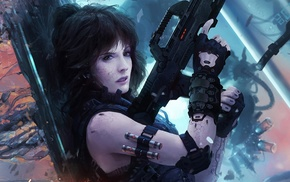 weapon, science fiction, cyberpunk, futuristic, girl