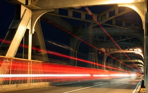night, traffic lights, race tracks, bridge, lights, city